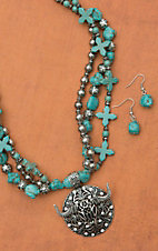 Turquoise & Silver Multi-Strand with Silver Longhorn Pendant Necklace & Earring Set 730246