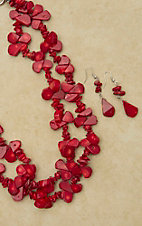 Double Strand Tear Drop Natural Coral Necklace and Earring Set 730264CO