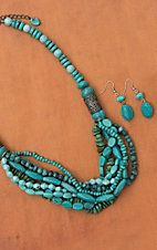 Turquoise Graduated Disc with Layered Center Necklace and Earring Set 730272