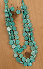 Wired Heart Turquoise Triple Beaded Strand Necklace & Earrings Jewelry Set 730300TQ