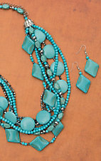 Mixed Turquoise Multi-Strand Layered Necklace and Earring Set 730303