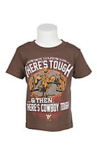 Cowboy Hardware Toddler Dark Chocolate There's Tough & Then There's Cowboy Tough Screen Print Short Sleeve T-Shirt
