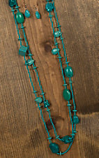 Wired Heart Turquoise Multistone Beaded Extra Long Necklace & Earrings Jewelry Set 730309TQ