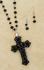 Black Bead with Cross Pendant Extra-Long Necklace & Earring Set 730316BK