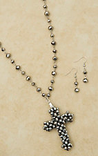 Hematite Bead with Cross Pendant Extra-Long Necklace & Earring Set 730316SV