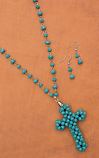 Turquoise Bead with Cross Pendant Extra-Long Necklace & Earring Set 730316TC