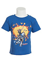 Cowboy Hardware Boy's Royal Blue with Bullrider Screen Print Short Sleeve T-Shirt
