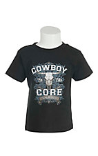 Cowboy Hardware Boy's Black with Cowboy to the Core Screen Print Short Sleeve T-Shirt