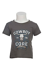 Cowboy Hardware Infant's Charcoal with Cowboy To The Core Screen Print Short Sleeve T-Shirt