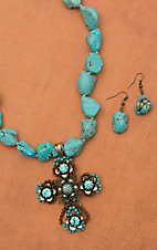 Chunky Natural Turquoise with Multicolor Floral Cross Drop Pendant Necklace and Earring Set 730335TQ
