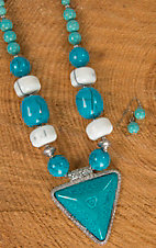 Wired Heart Turquoise Triangle Pendant Necklace
