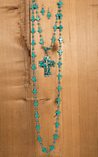 Wired Heart Turquoise Cross Pendant Cross Beaded Necklace & Earrings Jewelry Set 730462