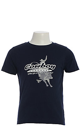 Cowboy Hardware Boy's Navy 8 Seconds at a Time Short Sleeve T-Shirt