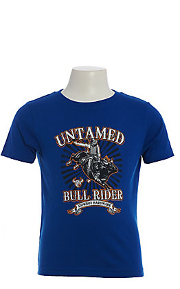 Cowboy Hardware Boys' Blue Untamed Bull Rider Short Sleeve T-Shirt