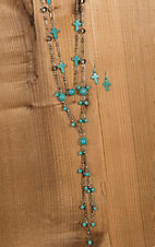 Wired Heart Turquoise Cross & Bead Layered Necklace & Earrings Jewelry Set 730491