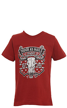 Cowboy Hardware Toddlers' Red Tough As Nails Skull Graphic Short Sleeve Tee