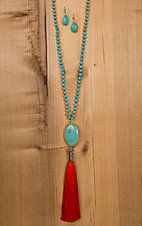 Wired Heart Turquoise Stone with Red Drop Tassel Necklace & Earrings Jewelry Set 730499RD