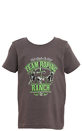 Cowboy Hardware Toddler's Grey with Lime Team Roping Ranch Short Sleeve Tee