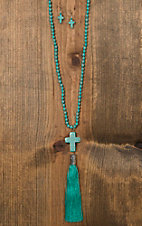 Wired Heart Turquoise Cross with Turquoise Drop Tassel Necklace & Earrings Jewelry Set 730590TQ