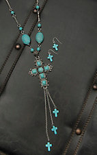 Wired Heart Silver with Turquoise Beading and Cross Pendant Necklace and Earring Jewelry Set