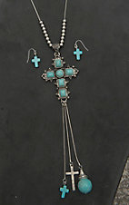 Wired Heart Silver with Silver Beads, Turquoise Beaded Cross, and Dangle Charms Pendant Necklace and Earring Jewelry Set
