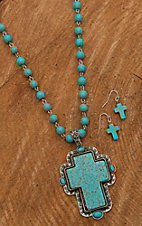 Wired Heart Turquoise Beaded Chain with Cross Jewelry Set