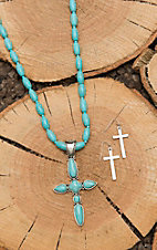 Wired Heart Turquoise Beaded with Turquoise Cross Jewelry Set