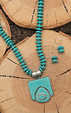 Wired Heart Turquoise Beaded with Turquoise Square Jewelry Set