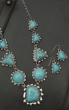 Wired Heart Silver with Large Turquoise Stones Necklace and Earrings Jewelry Set