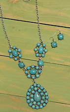 Wired Heart Silver with Turquoise Embellishments Jewelry Set