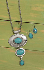 Wired Heart Silver with Oval Turquoise Stones Jewelry Set