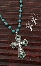 Wired Heart Turquoise Beaded with Rhinestone Embellished Cross Necklace and Earring Jewelry Set