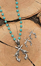 Wired Heart Silver with Turquoise Beading and Pistols Pendant Jewelry Set