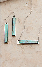 Isac Natural Stone Turquoise Bar Jewelry Set