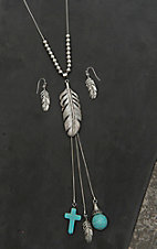 Wired Heart Silver with Silver Beads, Feather, and Dangle Charms Pendant Necklace and Earring Jewelry Set