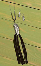 Wired Heart Silver with Feather and Brown Suede Tassels Jewelry Set