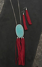 Wired Heart Silver with Large Turquoise Stone and Coffee Suede Tassels Necklace and Earrings Jewelry Set