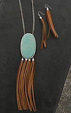 Wired Heart Silver with Large Turquoise Stone and Tan Suede Tassels Necklace and Earrings Jewelry Set