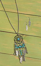 Wired Heart Silver with Turquoise Dream Catcher Pendant Jewelry Set