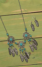 Wired Heart Silver with Three Turquoise Dream Catchers Jewelry Set