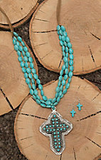 Wired Heart Tan Leather with Turquoise Beading and Cross Pendant Jewelry Set
