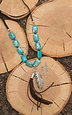 Wired Heart Brown Leather with Turquoise Stones and Tassel Pendant Jewelry Set