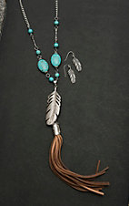Wired Heart Silver with Brown Tassel and Feather Pendant Jewelry Set
