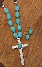 Wired Heart Leather with Silver Cross and Turquoise Stones Jewelry set