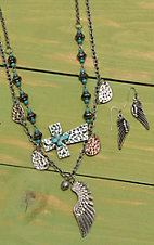 Wired Heart Silver Two Chain Turquoise Embellished with Feather Jewelry Set