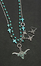 Wired Heart Silver with Turquoise Beading and Longhorn Pendant Jewelry Set