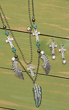 Wired Heart Silver Double Chain with Feather, Cross and Wing Charms Jewelry Set