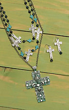 Wired Heart Multi-Chain with Turquoise Cross Jewelry Set