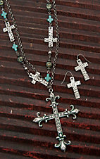 Wired Heart Silver with Multiple Charms and Large Rhinestone Cross Pendant Necklace and Earrings Jewelry Set