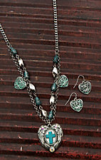 Wired Heart Silver with Multiple Turquoise Charms and Heart Pendant Necklace and Earrings Jewelry Set